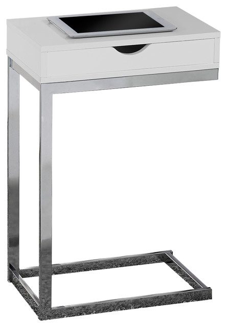 Glossy White Hollow Core, Chrome Metal Accent Table Contemporary Sidobord& avlastningsbord