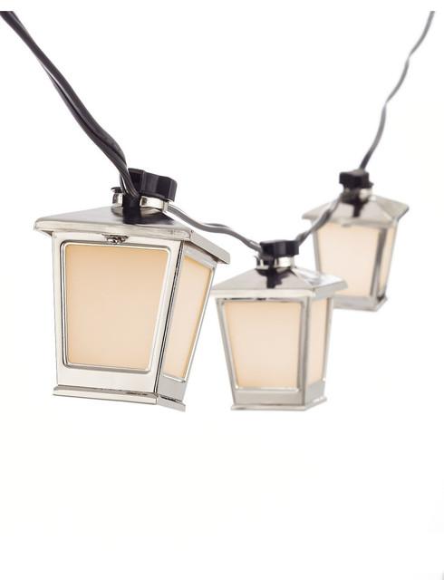 Metal String Lights Outdoor : Glucksteinhome Biscayne Bay Metal Lantern String Lights - Contemporary - Outdoor Fairy Lights ...
