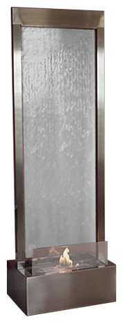 6 39 Gardenfall Indoor Fire Fountain Stainless Steel And Clear Glass Modern Indoor Fireplaces