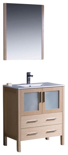 Torino light oak modern bathroom vanity with integrated sink 30 contemporary bathroom - Light oak bathroom vanity units ...