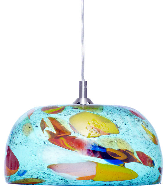 Spoted Aqua Hand Blow Art Glass Pendant Light - Contemporary - Pendant Lighting - by Ely's Glass Art
