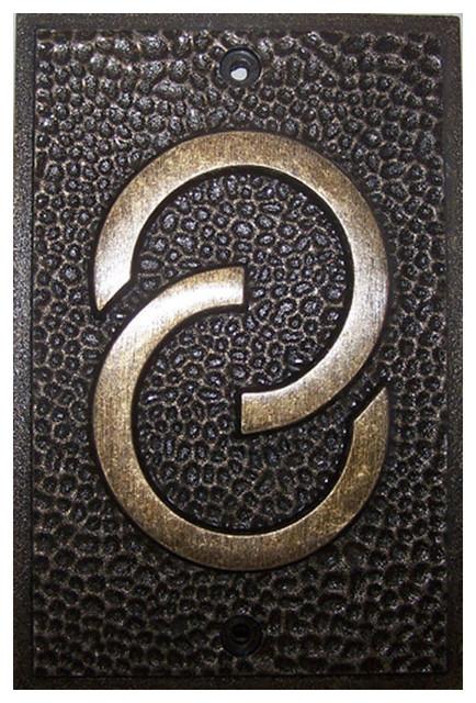 frank lloyd wright house numbers bronze finish 8 arts. Black Bedroom Furniture Sets. Home Design Ideas