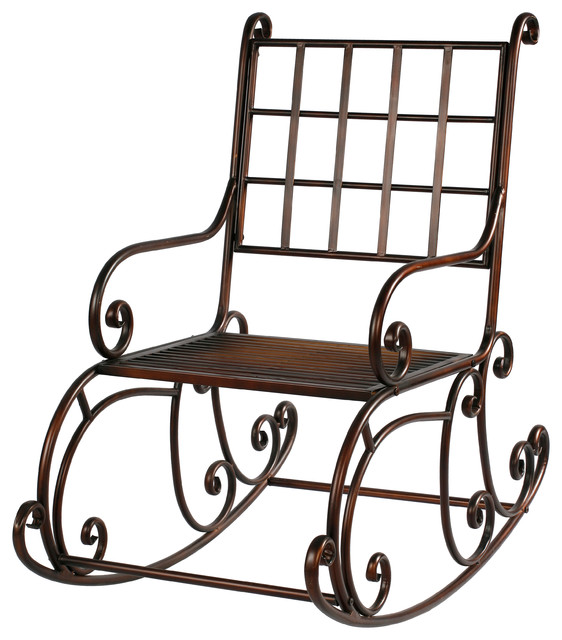 "Rocking Chair 41"" Tall Antique Brown Metal by Winward Designs Traditio"