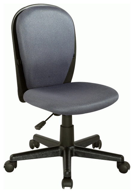 Black Grey Fabric Back And Seat Youth Desk Chair Contemporary Office Chai