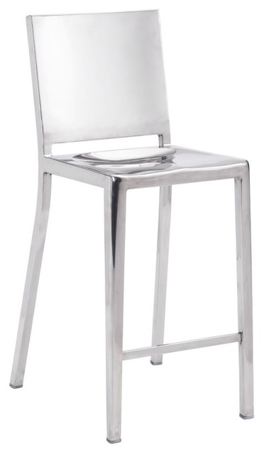 Zuo Modern Fall Stainless Steel Counter Stool Set Of 2