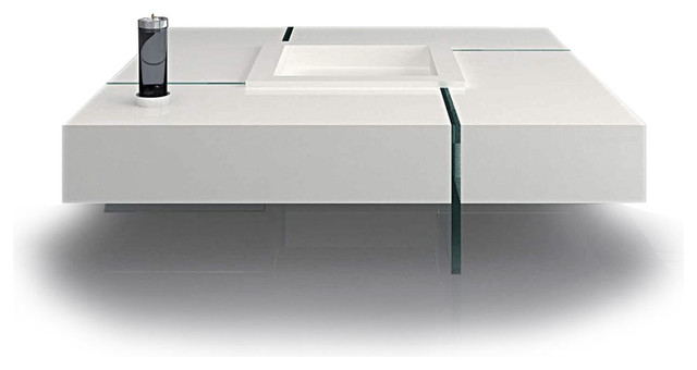 Modern White Square Floating Coffee Table Joel Modern Coffee Tables Other By Furnillion