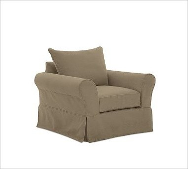 Pb Comfort Roll Arm Slipcovered Armchair With Knife Edge