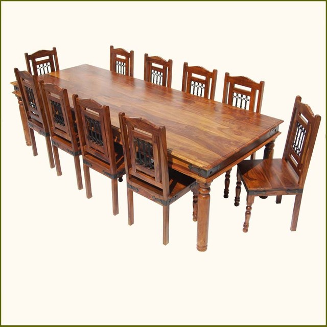 Rustic Solid Wood Large Square Dining Table Chair Set: Rustic 11 Pc Large Solid Wood Dining Table Chairs Set For
