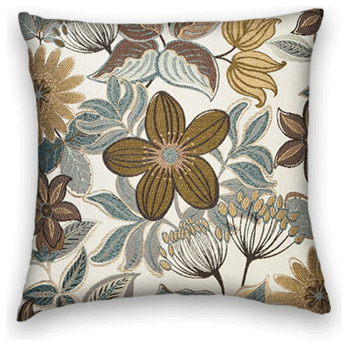 Blue Brown Cream Floral Throw, 18x18 Pillow Cover - Traditional - Decorative Pillows - by Cody ...