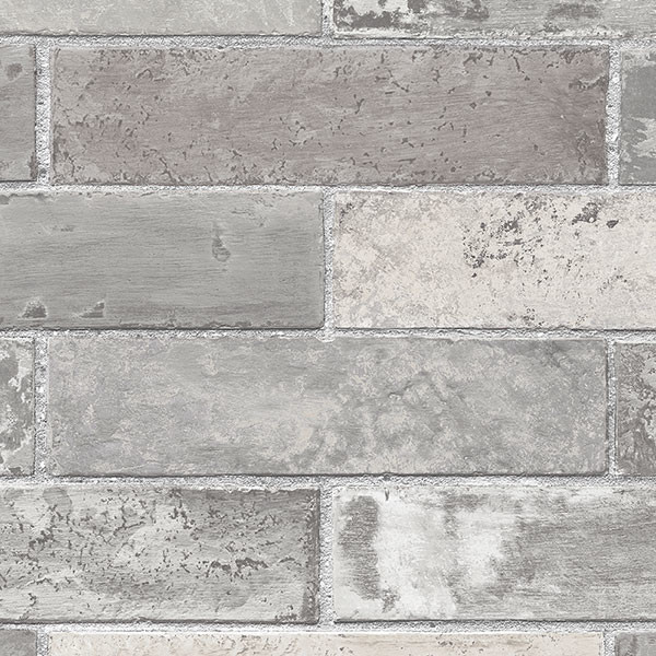 Brick Pattern Wallpaper, Gray