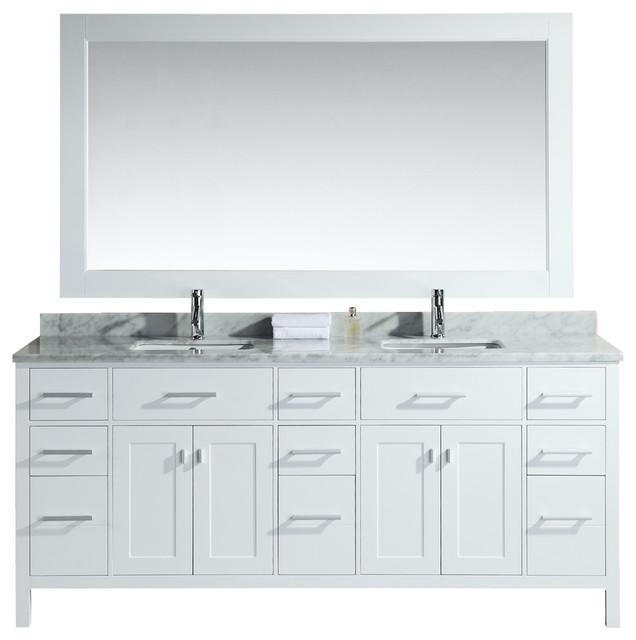 78 Bathroom Vanity Double Sink White