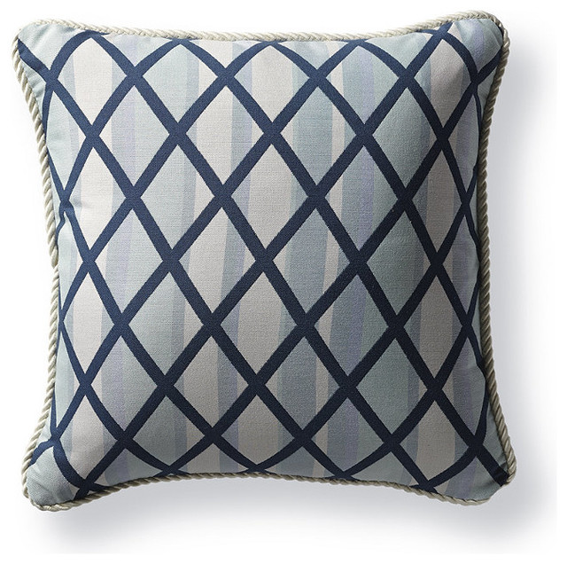 Decorative Outdoor Lumbar Pillows : Prism Trellis Blue Outdoor Lumbar Pillow - Traditional - Decorative Pillows - by FRONTGATE