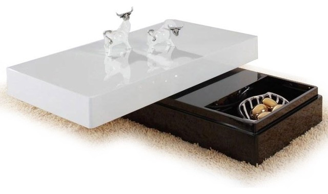 Modern Rectangular Swivel White Coffee Table With Storage Kani Contemporary Coffee Tables
