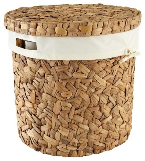 Water Hyacinth Hamper And Liner Set Contemporary