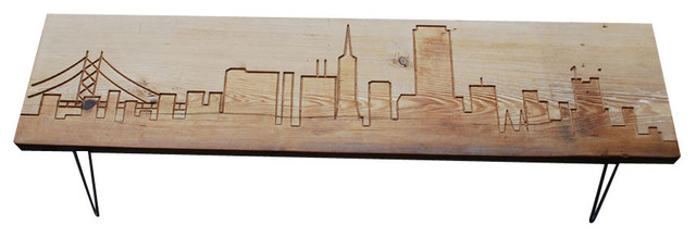 San Francisco Reclaimed Wood Bench Thick 84