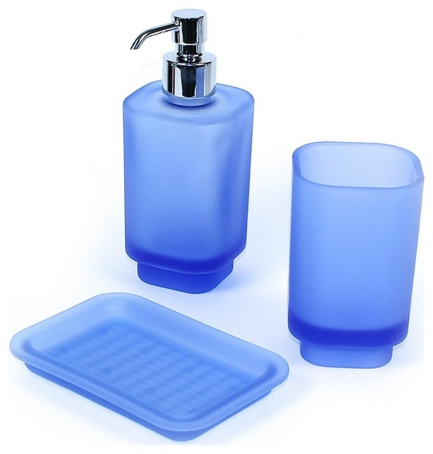 Joy light blue satin glass accessory set contemporary for Bathroom accessories glass