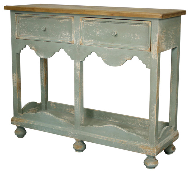 Distressed Gray Console Table