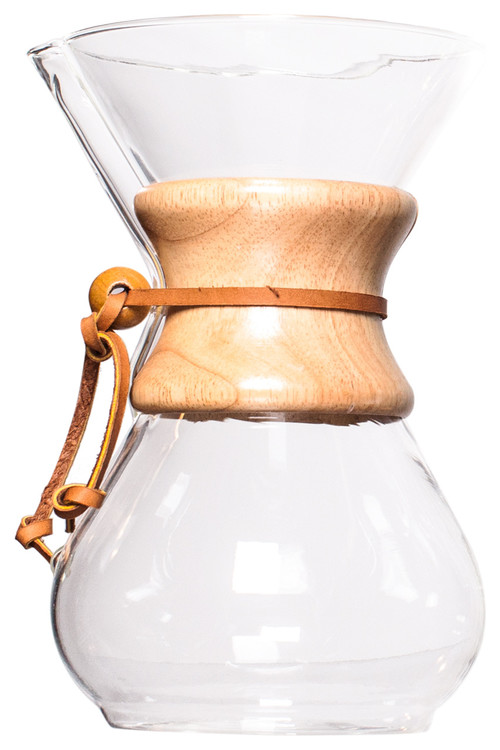 Chemex 6-Cup Coffe Maker, Classic and Glass Handle Style, Wood Collar