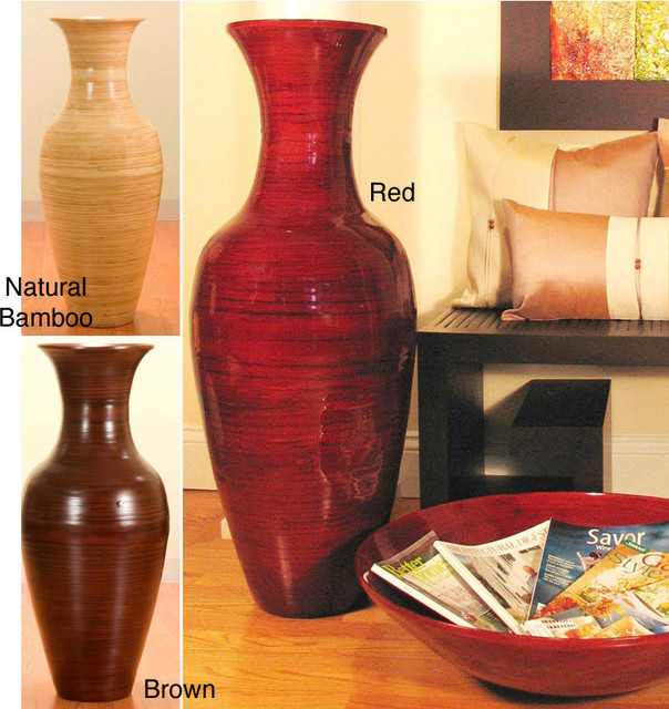 36 Inch Bamboo Tall Floor Vase Contemporary Vases By