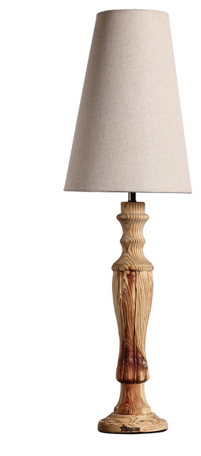 wood candle table lamp with tapered fabric shade rustic table lamps oth. Black Bedroom Furniture Sets. Home Design Ideas