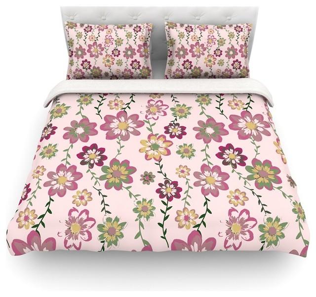 "Nika Martinez ""Romantic Flowers in Pink"" Blush Floral Duvet Cover"