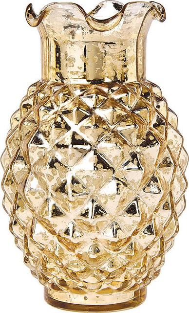 Gold Mercury Glass Vase Ruffled Pineapple Design