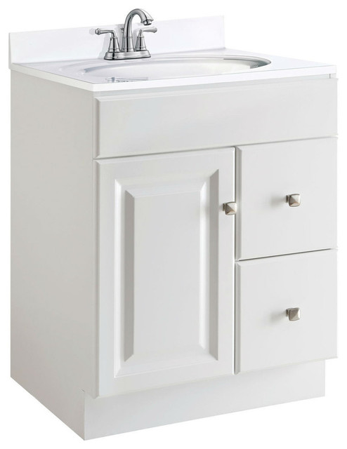 24 Inch Modern Bathroom Vanity Cabinet Base In White Semi