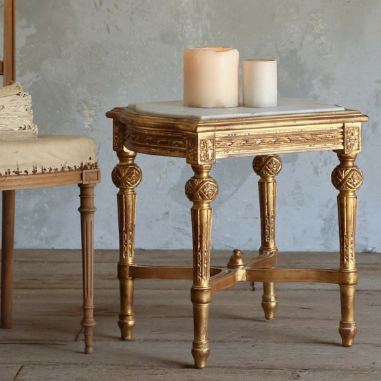 Vintage marble top side table antique side tables for Antique marble coffee table and end tables