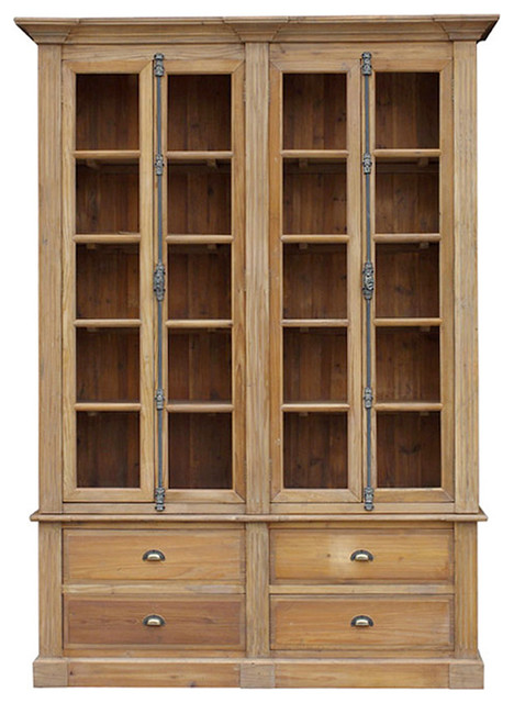 unfinished pine bookcase with doors 2