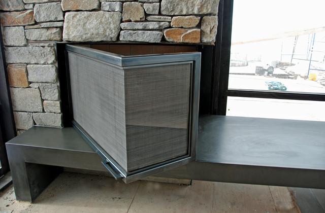 The l shaped fireplace screen door traditional for Indoor screen door