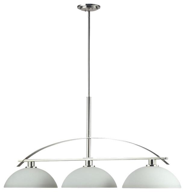 Three Light Chrome Matte Opal Glass Island Light - Contemporary - Kitchen Island Lighting - by ...