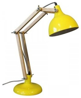 lampe architecte m tal bois hadar couleur jaune. Black Bedroom Furniture Sets. Home Design Ideas