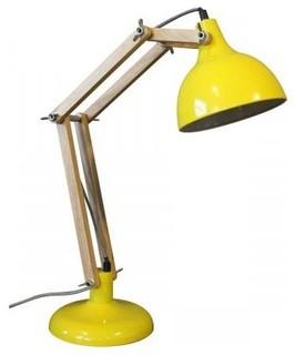 lampe architecte m tal bois hadar couleur jaune. Black Bedroom Furniture Sets. Home Design Ideas