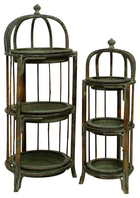 3 Tier Plant Stands In Wood W Woven Rattan Set Of 2