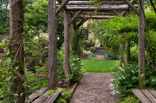 Rustic arbor in spring traditional landscape chicago for Landscape design chicago
