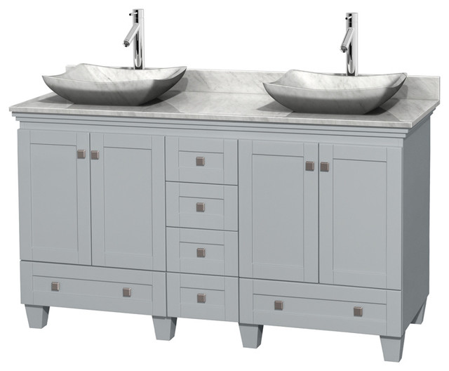 Double Bathroom Vanity Gray White Marble Top Without Mirror Transitional Bathroom