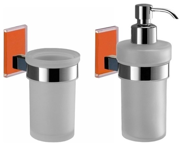 Orange And Chrome Toothbrush Tumbler And Soap Dispenser Accessory Set Contemporary Bathroom