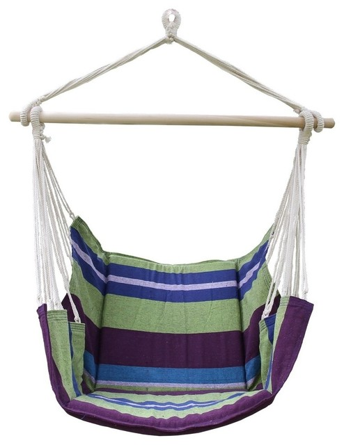 Cotton fabric hanging chair with mat contemporary for Fabric hammock chair