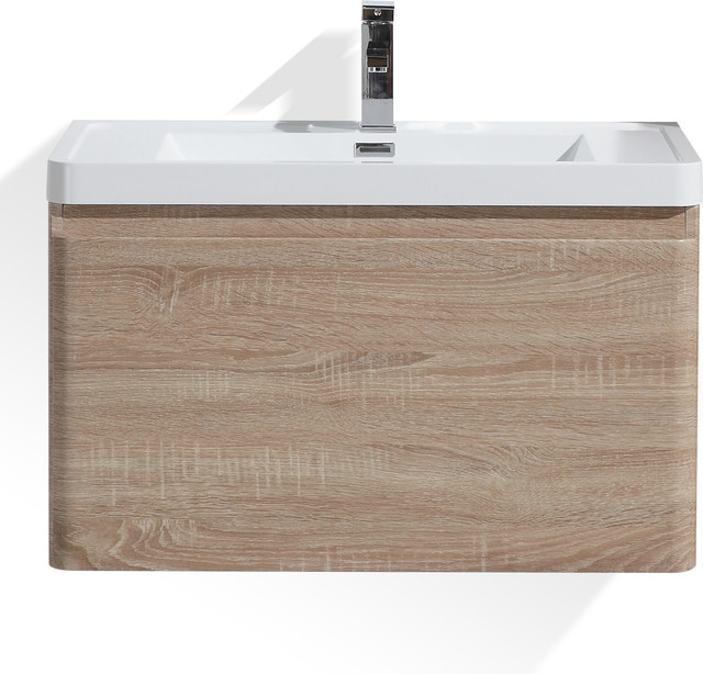 happy 24 white oak wall mounted modern bathroom vanity w 2 drawers