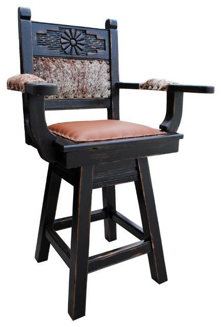 Rio Grande Southwestern Swivel Bar Stool Cowhide 24