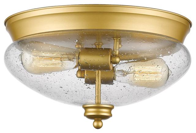 Amon 2 Light Flush Mount Satin Gold Farmhouse Ceiling Lighting by Ligh