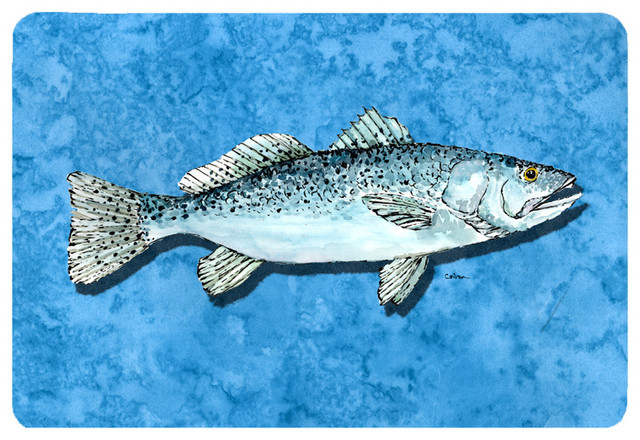 Fish trout kitchen or bath mat 20x30 traditional for Fish bath rug
