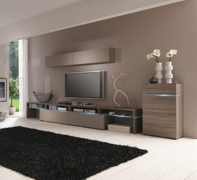 Modern Sonoma Truffle Wall Unit Contemporary