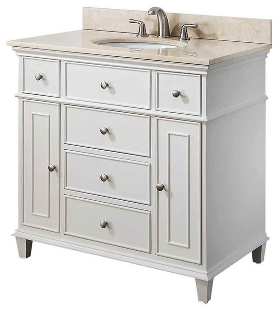 37 in vanity set with beige marble top contemporary for Marble top console sink