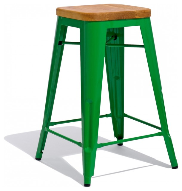 Marais Bar Stool With Wood Seat Industrial Bar Stools And Counter Stools