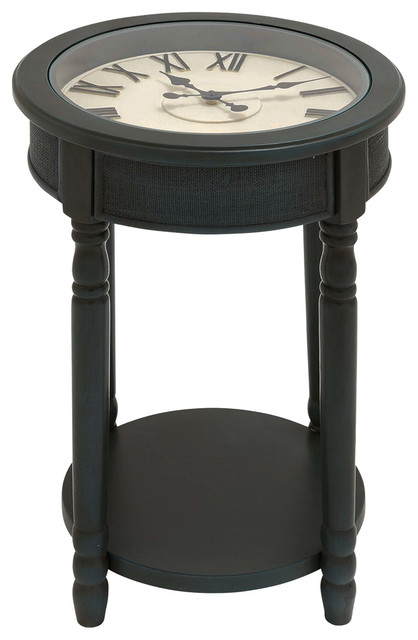 Urban designs 26 round wooden clock accent table dark for Clock coffee table round