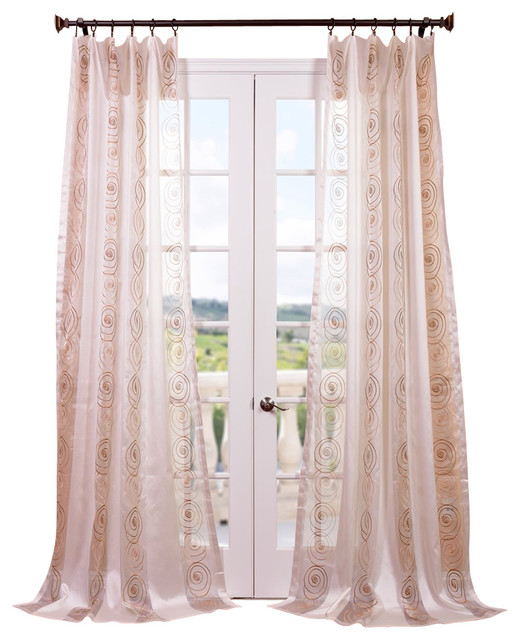 lunetta taupe gold embroidered sheer curtain