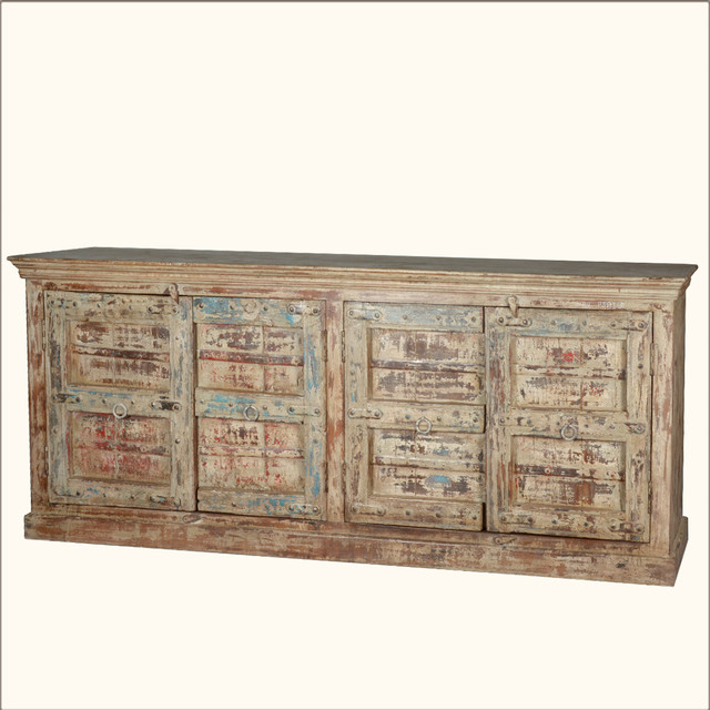 Rustic Large Storage Sideboard 4 Door Cabinet Reclaimed