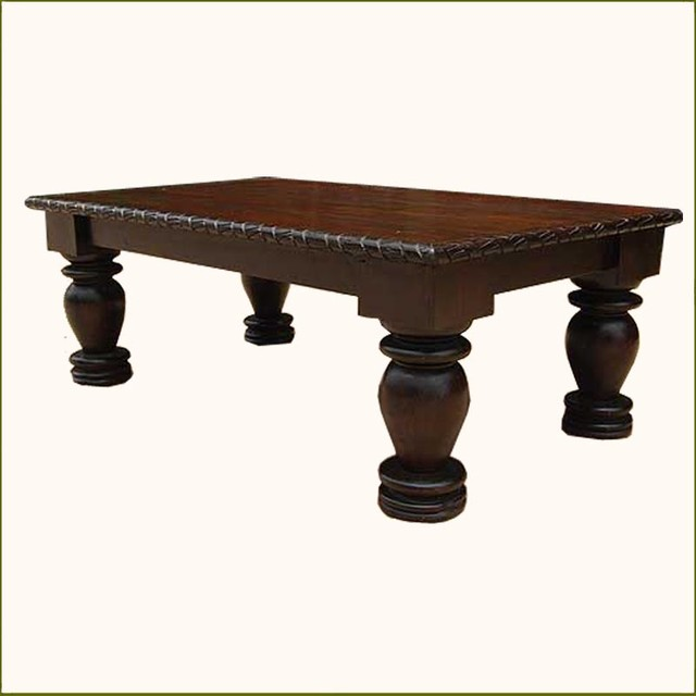 Dark Solid Wood Rustic Sofa Cocktail Coffee Table Traditional Coffee Tables Austin By
