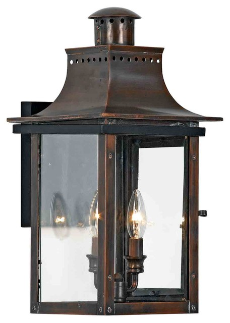 Rustic Exterior Wall Sconces : Quoizel CM8410AC Chalmers Aged Copper Outdoor Wall Sconce - Rustic - Outdoor Wall Lights And ...
